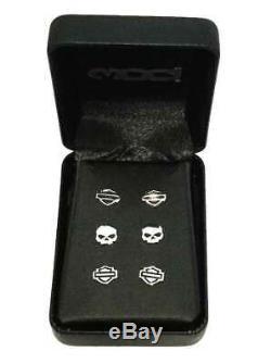 Harley-davidson Bar & Shield Skull Post / Set Stud 3 Boucles D'oreilles Hde0005