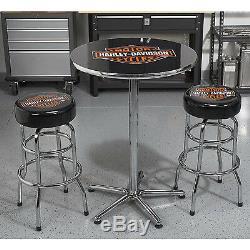 Harley-davidson Bar & Shield - Table À Barres Rondes Avec Logo, Cadre En Acier Chromé H