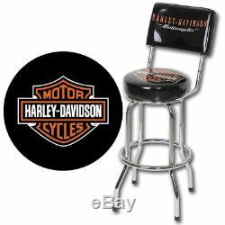 Harley-davidson Bar & Shield Tabouret De Bar Avec Hdl-12204 Dossier Fast Navires