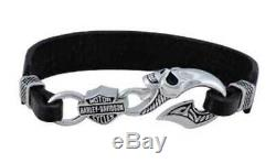 Harley-davidson Bar Skull Wicked Men & Shield Bracelet En Cuir Hdb0443