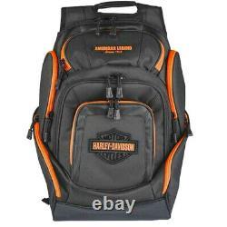 Harley-davidson Black & Neon Orange Bar & Shield Deluxe Sac À Dos Bp2000s-org