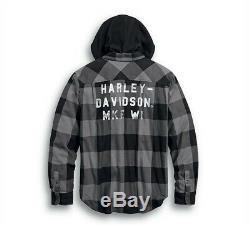 Harley-davidson Bordée Shirt Veste À Capuche # 1 Bar & Shield Brodé 99007-20v
