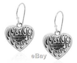 Harley-davidson Boucles D'oreilles Pendantes Flames Bar & Shield Heart Pour Femme, Argent Hde0423