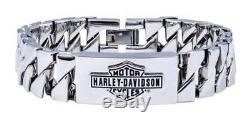 Harley-davidson Bracelet À Maillons Gourmands En Acier, Grande Barre Et Bouclier En Acier, Pour Hommes Hsb0142