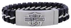 Harley-davidson Bracelet Caché Avec Fermoir Caché Pour Hommes, Noir Hsb0182