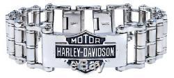 Harley-davidson - Bracelet En Acier Pour Homme - Chaîne De Vélo Et Emblème Avec Emblème Pour Homme - Hsb0146