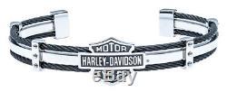 Harley-davidson Bracelet Manchette De Câble En Acier Pour Bar & Shield, Argent Hsb0069