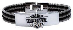 Harley-davidson Bracelet Pour Identification De Câbles En Acier Avec Logo, Logo Bar & Shield, Hsb0068