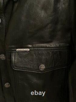 Harley-davidson Chemise En Cuir Noir Veste Bar Shield Snap 98111-98vm Hommes M