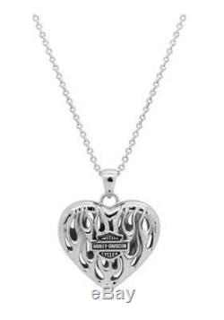Harley-davidson Collier Flames Bar & Shield Pour Femme, Argent, Hdn0355