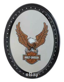 Harley-davidson D'eagle Bar & Shield Logo Miroir Ovale Signe -18 X 24 Pouces Hdl-15232