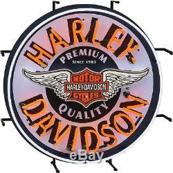 Harley-davidson, Enseigne De Fenêtre Murale À Lumière Du Néon, À Barres Et Boucliers Rétro, 24