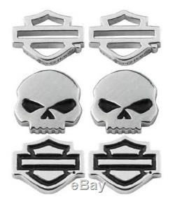Harley-davidson Ensemble De 3 Boucles De Boutons Pour Femme Avec Barres, Crânes Et Crâne Pour Femmes Hds0005