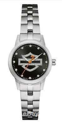 Harley-davidson Femmes Bar Glitter Open & Shield Watch, En Acier Inoxydable 76l182
