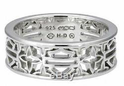 Harley-davidson Femmes Bar Silver Sterling & Shield Silhouette Anneau Hdr0508
