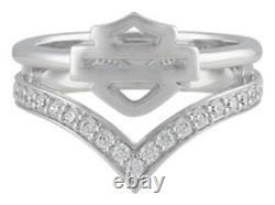 Harley-davidson Femmes Chevron Embellished Bar & Shield White Bling Ring Hdr0539