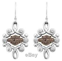 Harley-davidson Femmes Strass Filigrane Bar & Shield Hook Boucles D'oreilles Hde0462
