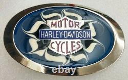 Harley-davidson Flaming Bar & Shield Sur Bleu Enamel Vintage 1970 Ceinture Boucle