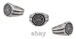 Harley-davidson Homme Bar & Shield Wax Seal Ring Sterling Silver Hdr0544