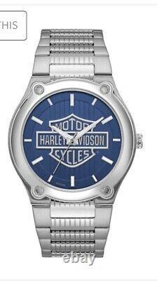 Harley-davidson Hommes Bulova Blue Patterned Bar & Shield Montre En Acier Inoxydable