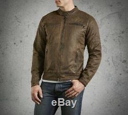 Harley-davidson Hommes Hornback Moto Bar & Shield Jacket Casual Brown Taille Med