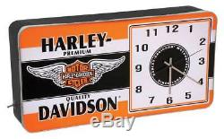 Harley-davidson - Horloge En Métal Avec Annonce À Led - Barre Et Bouclier - Hdl-16641