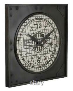 Harley-davidson Industriel Bar & Shield Metal Square Horloge, 24 Pouces Hdl-16644