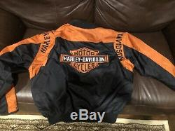 Harley-davidson Men Noir Et Orange Bar & Shield Jacket Casual Taille Large