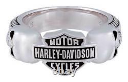 Harley-davidson Men's Wicked Skulls Bar & Shield Ring, Sterling Silver Hdr0534
