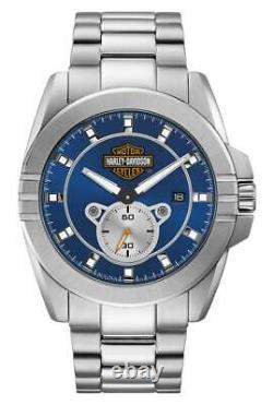 Harley-davidson Mens Blue Dial Bar & Shield Stainless Steel Watch, Argent 76b183