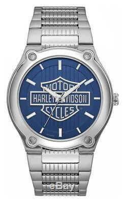 Harley-davidson - Montre En Acier Inoxydable À Motif De Barres Et De Boucliers Pour Homme, Bleu 76a159