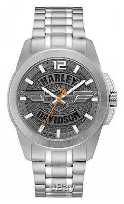 Harley-davidson - Montre En Acier Inoxydable Avec Barre De Wing & Shield Pour Homme, Gris Ardoise 76a157