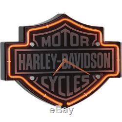 Harley-davidson Neon Clock Gravé Bar & Shield En Forme