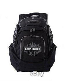 Harley-davidson Noir Et Gris Bar & Shield Deluxe Sac À Dos Bp1900s