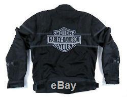 Harley-davidson Noir Gris Mesh Mototourisme Jacket XL Biker Bar Shield