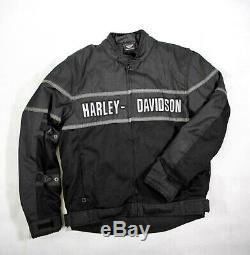 Harley-davidson Noir Gris Mesh Mototourisme Veste Bar Bouclier Biker L