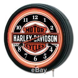Harley-davidson Nostalgic Bar & Shield Neon Horloge 20 / Harley Davidson Enseigne Au Néon