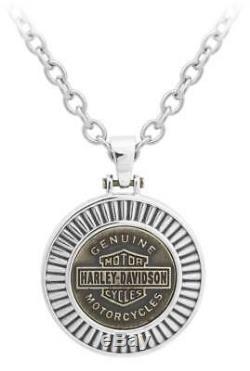 Harley-davidson Or Noir Et Blanc Hommes En Acier Bar & Shield Collier De Chaîne, Hsn0050-22
