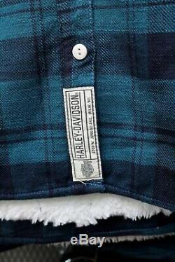 Harley-davidson Plaid T-shirt Des Femmes Sherpa Lined Rose Bar & Shield 96165-20vw