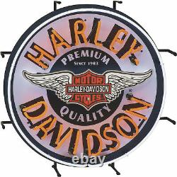 Harley-davidson Retro Winged Bar & Shield Neon Light Wall Window Sign, 24 Dia