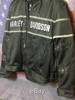 Harley-davidson Riding Noir Vitesse Gris Blindé Veste Motard XL Bouclier Bar