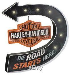 Harley-davidson Route Commence ICI Bar & Shield Marquee Pub Pancarte De Métal Hdl-15519
