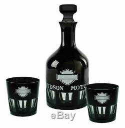 Harley-davidson Silhouette Bar & Shield Noir Blanc Decanter 3-pc Set Hdl-18765