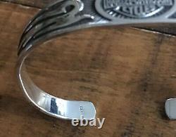 Harley-davidson Sterling Argent. 925 Scroll Flames Bar & Shield Bracelet Manchette