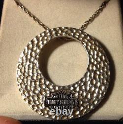 Harley-davidson Sterling Silver Bar & Shield Hammered Circle Collier 925 Corde