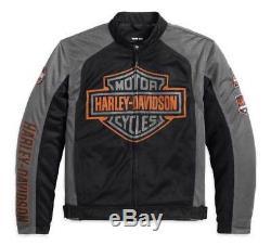 Harley-davidson Veste D'équitation En Filet Avec Logo Et Barres Pour Homme, Noir 98233-13vm