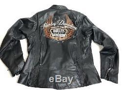 Harley-davidson Veste De Protection Et De Protection Pour Motocyclette Moxie En Cuir Noir Lg 98003-11vw