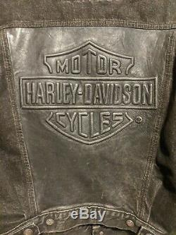 Harley-davidson Veste En Jean Avec L Grand Cuir De Cond Bar & Shield Hommes
