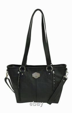 Harley-davidson Women's Bar & Shield Black Leather Filigree Satchel Fgb9408-blk