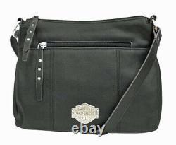 Harley-davidson Women's Bar & Shield Filigree Black Leather Crossbody Fgb9437